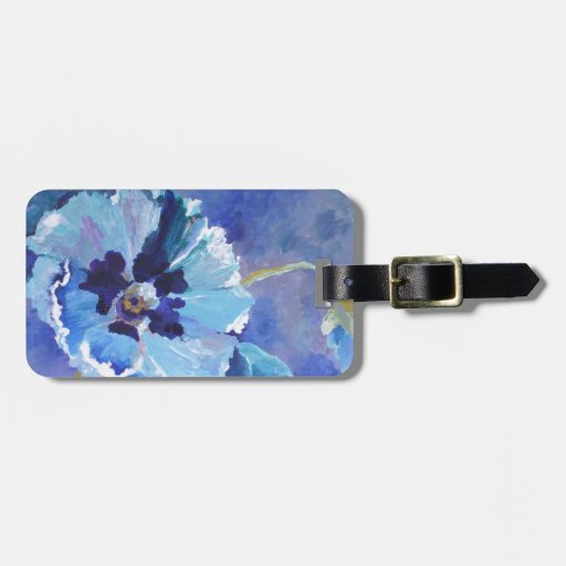 Large Blue Poppies Luggage Tag