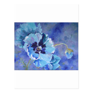 Large Blue Poppies Postcard