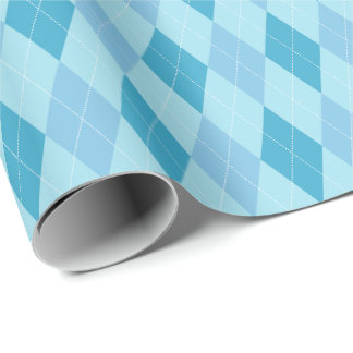 Large Blue Tones Argyle Wrapping Paper