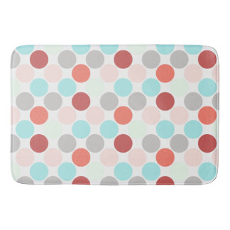 Large bold dots in pale Aqua Rose Salmon & Gray Bath Mat