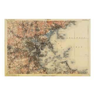 Large Boston MA Survey Map 1898 to 1900 Poster