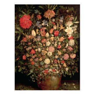 Large bouquet of flowers in a wooden tub postcard