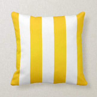 Large Bright Yellow and White Stripes Throw Pillow
