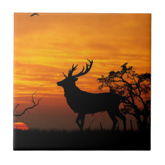 Large Buck Silhouette at Sunset Ceramic Tile