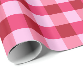 Large Buffalo Check, strawberry pink and red Wrapping Paper