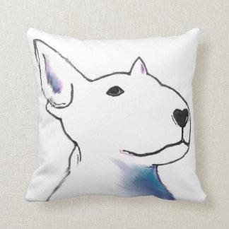 Large Bullterrier face, pop art style bold design Cushion