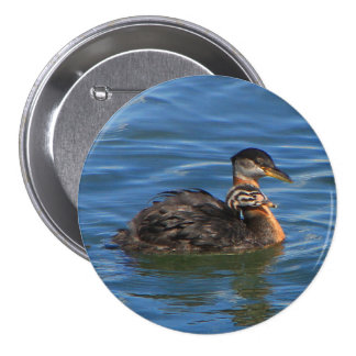 Large Buttons, Baby Grebe. 7.5 Cm Round Badge