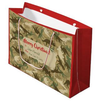Large Camouflage Dinosaur Christmas Gift Bag