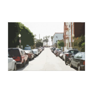 Large Canvas of a City Street with Parked Cars