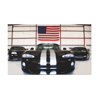 Large Canvas of Sports Car in front of USA flag