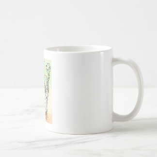 Large cat skeleton watercolour splatter oran/green coffee mug