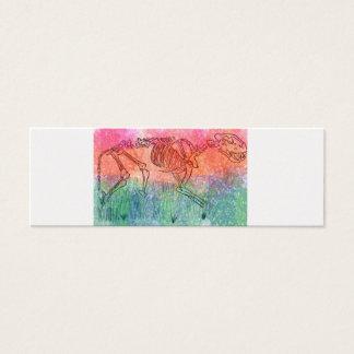 Large cat skeleton watercolour splatter red/green mini business card