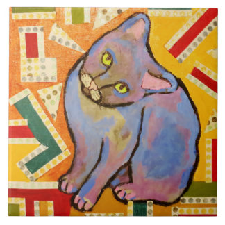 Large Ceramic Photo Tile (6 Inch) with Cute Cat