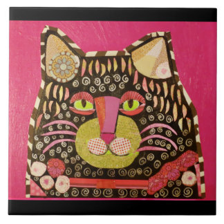 Large Ceramic Photo Tile with Cool Cat