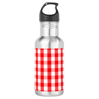 Large Christmas Red and White Gingham Check Plaid 532 Ml Water Bottle