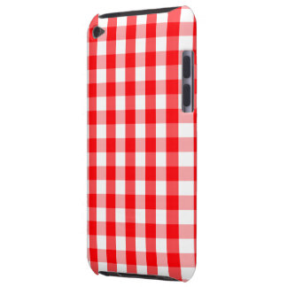Large Christmas Red and White Gingham Check Plaid Barely There iPod Case