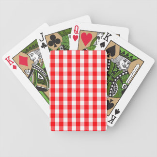 Large Christmas Red and White Gingham Check Plaid Bicycle Playing Cards