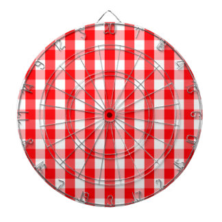 Large Christmas Red and White Gingham Check Plaid Dartboard