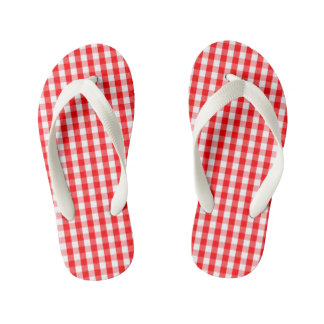 Large Christmas Red and White Gingham Check Plaid Kid's Thongs