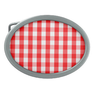 Large Christmas Red and White Gingham Check Plaid Oval Belt Buckles