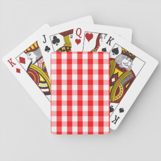 Large Christmas Red and White Gingham Check Plaid Playing Cards