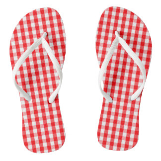 Large Christmas Red and White Gingham Check Plaid Thongs
