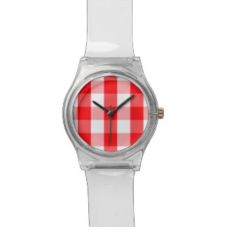 Large Christmas Red and White Gingham Check Plaid Watch