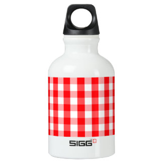 Large Christmas Red and White Gingham Check Plaid Water Bottle