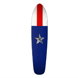 Large Chrome Like Silver Star on Festive Colors 19.7 Cm Skateboard Deck