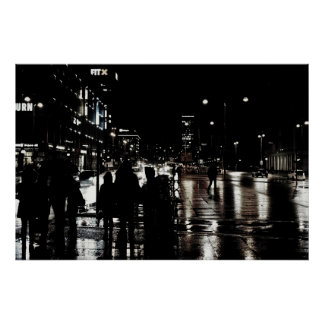 Large city silhouettes poster