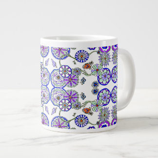 Large Coffee Soup Cereal Mug Cup Blue Floral