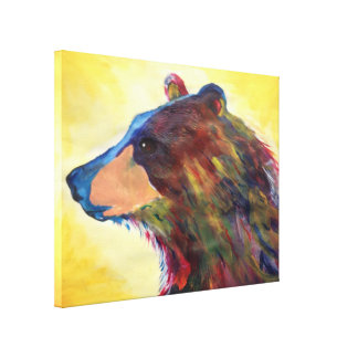 Large Colorful Abstract Bear Art Stretched Canvas Prints