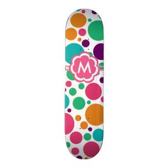Large Colorful Polka Dots Monogram 19.7 Cm Skateboard Deck
