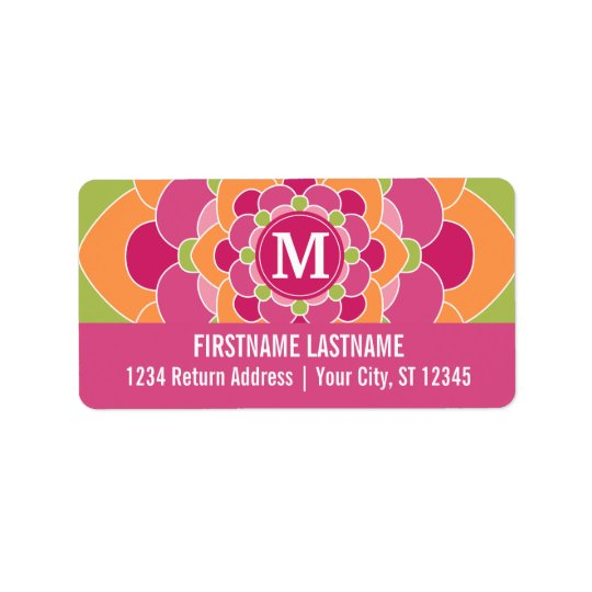 Large Colourful Flower Design with Monogram Address Label