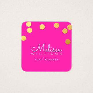 LARGE CONFETTI SPOT cute luxe faux gold foil pink Square Business Card