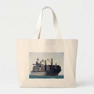 Large Container Ship At Anchor Canvas Bags