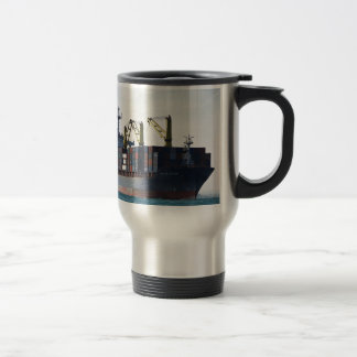 Large Container Ship At Anchor Stainless Steel Travel Mug
