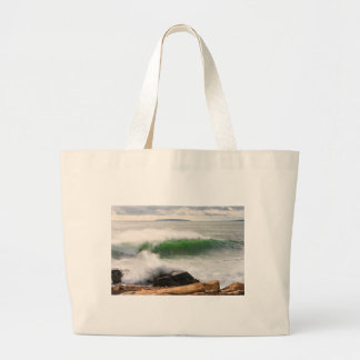 Large Crashing Waves Seascape Acadia National Park Large Tote Bag