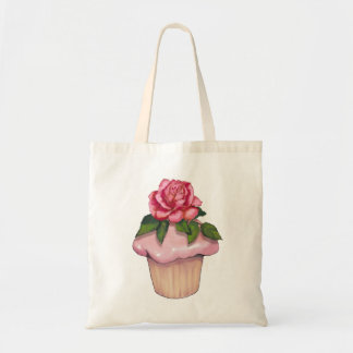 Large Cupcake with Pink Icing and Rose Flower, Art Budget Tote Bag