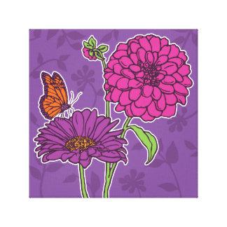 Large dahlia and daisy on purple canvas print