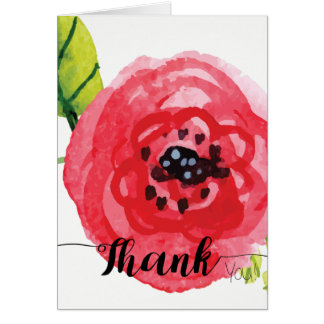 Large Dark Pink Watercolor Flower | Thank You Card