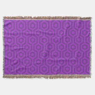 Large Dark Purple Hexagonal Geometric Pattern Throw Blanket