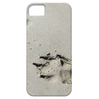 Large dog's paw prints on wet sand iPhone 5 case