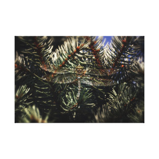 Large Dragonfly Camouflaged in Blue Spruce Tree Canvas Print