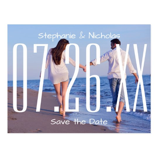 Large Empire Date & Photo - Save the Date Postcard