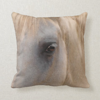 Large Eye of a White Horse Throw Pillow