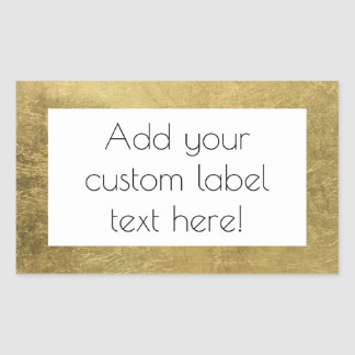 Large Faux Gold Leaf Custom Craft Favor Wedding Rectangular Sticker