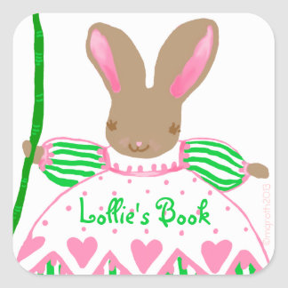 Large Fifi bunny bookplate, pink Square Sticker