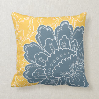 Large Floral Motif Pillow in Teal and Gold