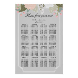 Large Floral Seating Chart